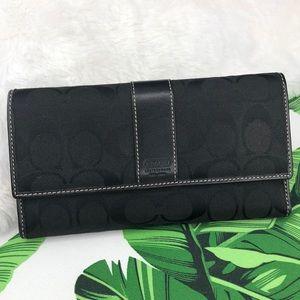 Coach Signature C Black Trifold Checkbook Wallet